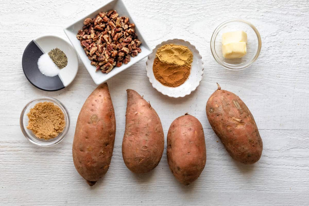 Ingredients to make the recipe on a white boards