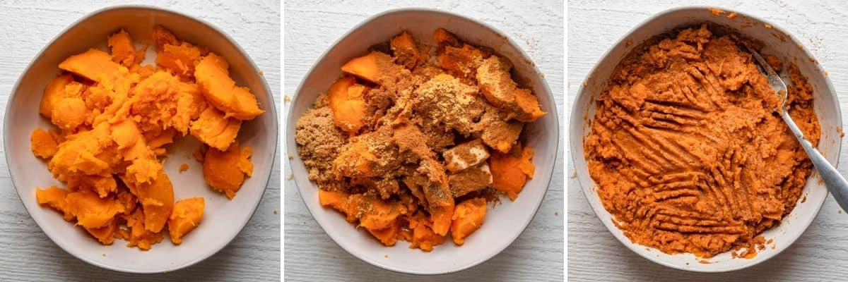 3 image collage of the sweet potato flesh, then with the spices and sugar and butter added on top, then all mixed in