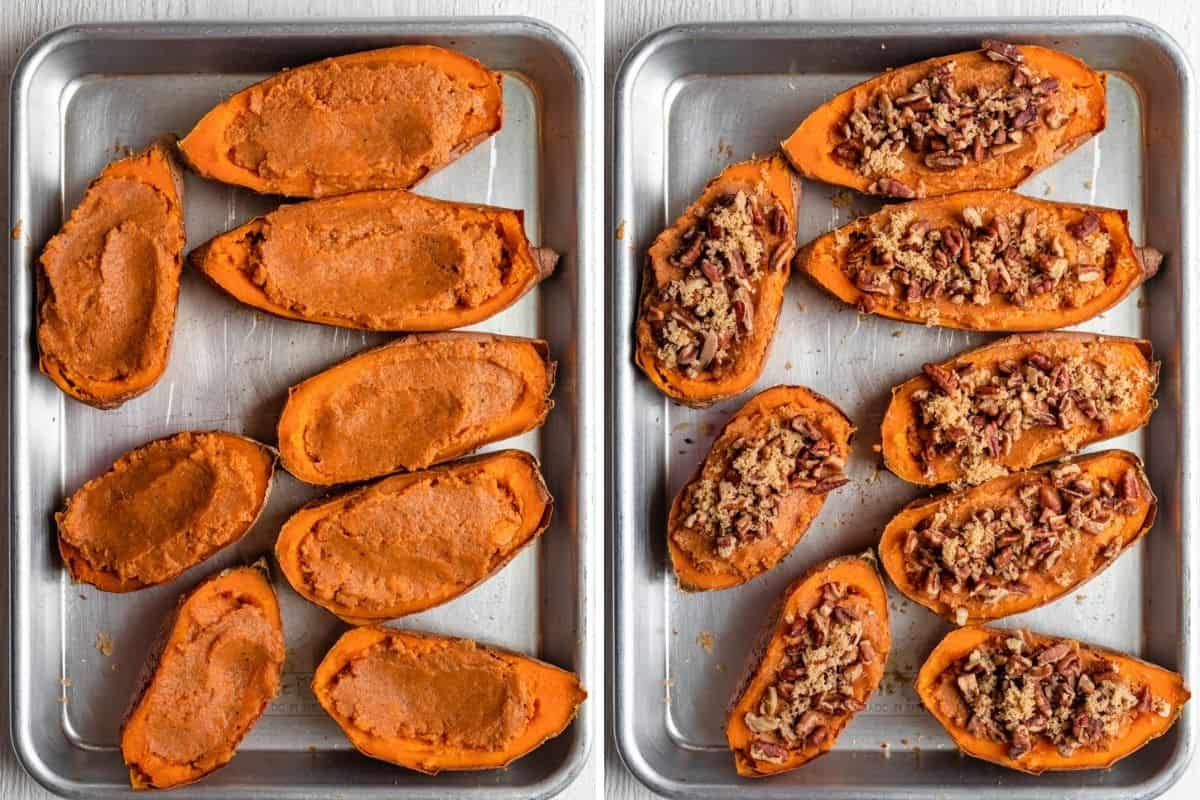 2 image collage of the stuffed sweet potatoes and then topped with pecans and more brown sugar