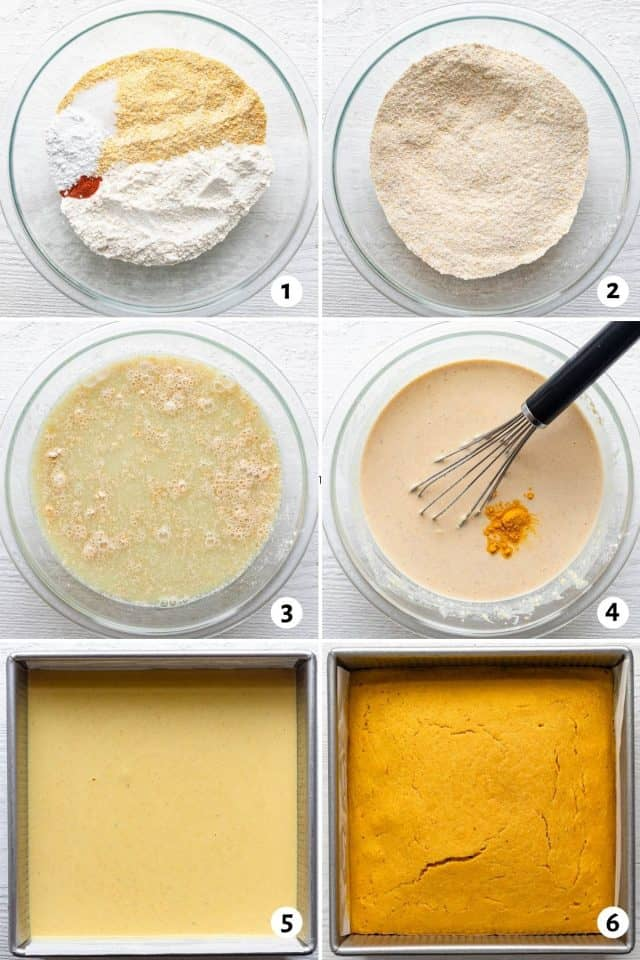 6 image collage to show how to make the recipe from mixing in bowl to baking
