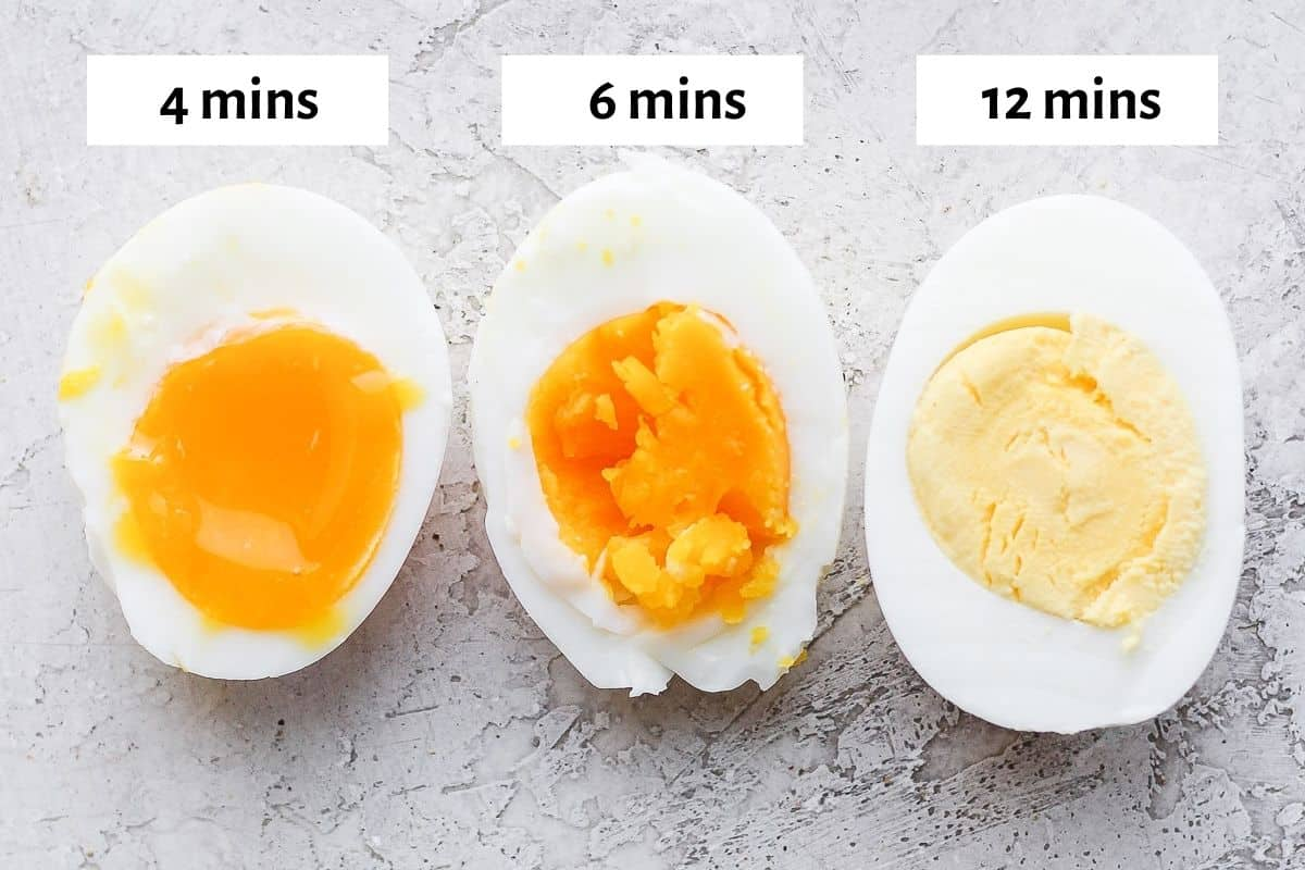 Three egg halves cooked at 4 minutes, 6 minutes and 12 minutes