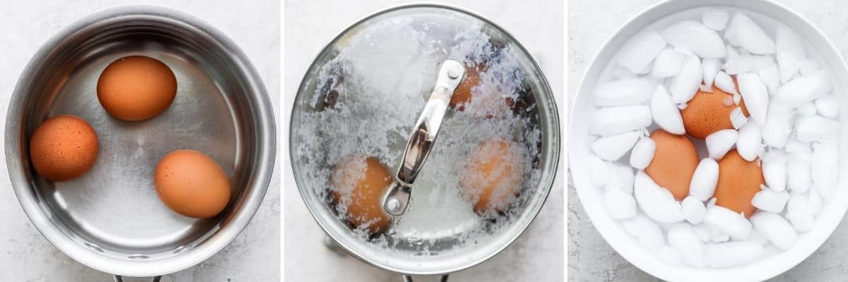 3 image collage to show to boil egg in a pot with water