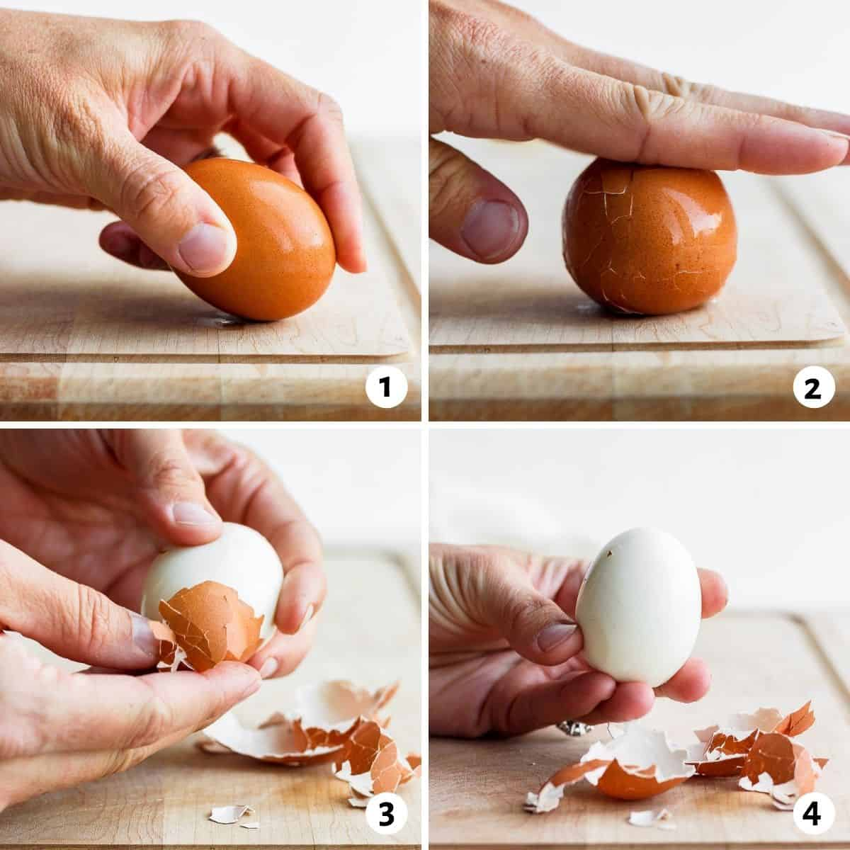 4 image collage to show how to peel hard boiled eggs