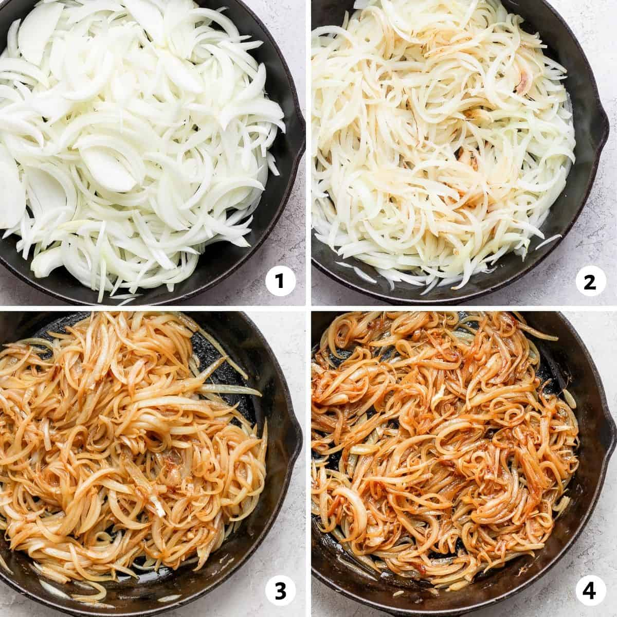 4 images to show how the onions start and what they look like at each stage
