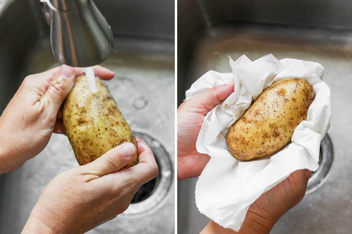 Two image collage to show how to wash and dry a potato
