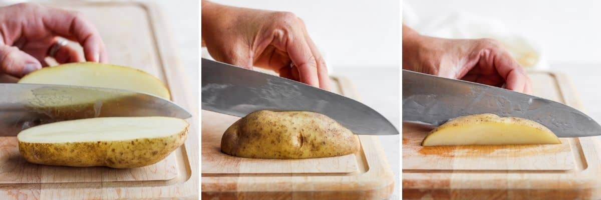 3 image collage to show how to cut potato wedges