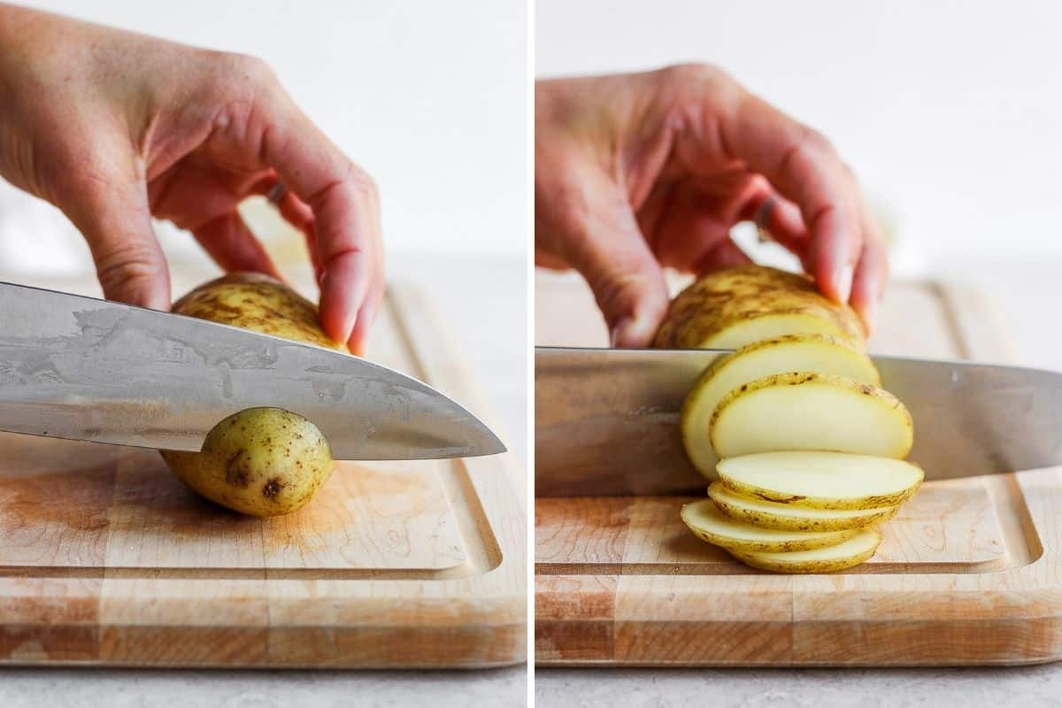 2 image collage to show how to slice a potato into rounds