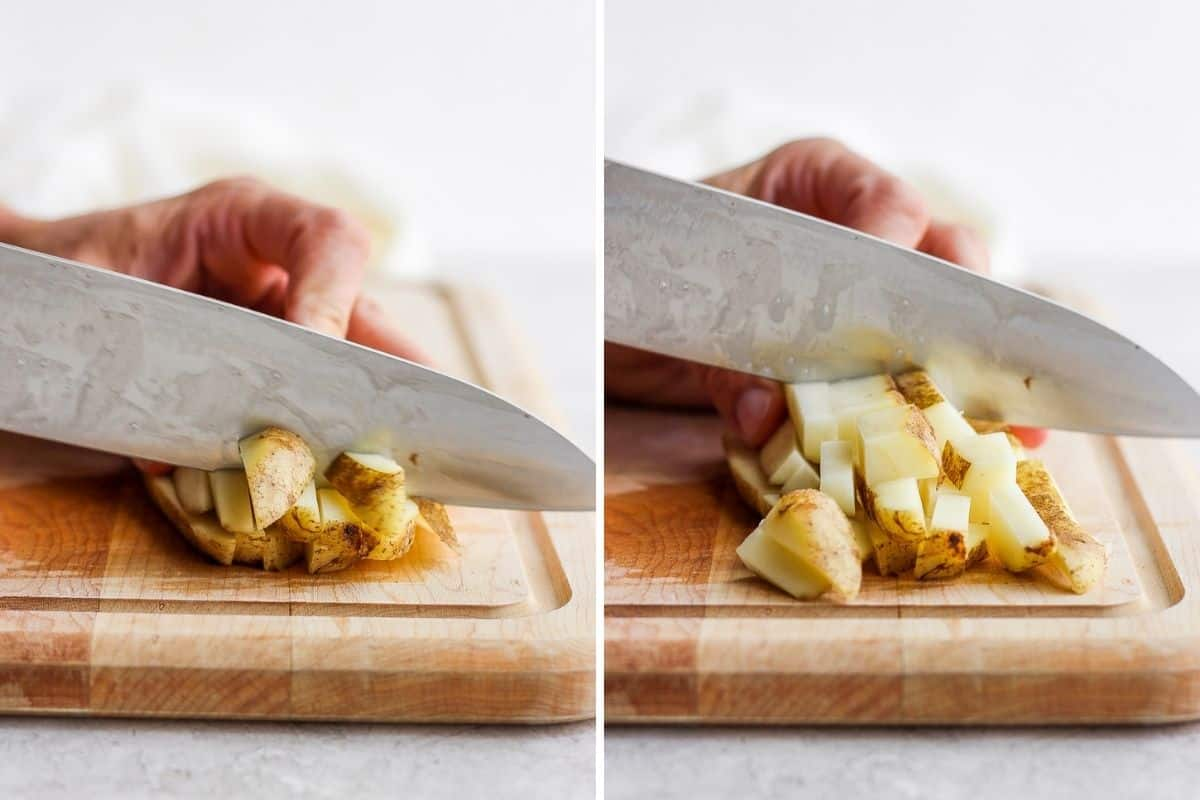 2 image collage to show how to cut potato sticks into cubes