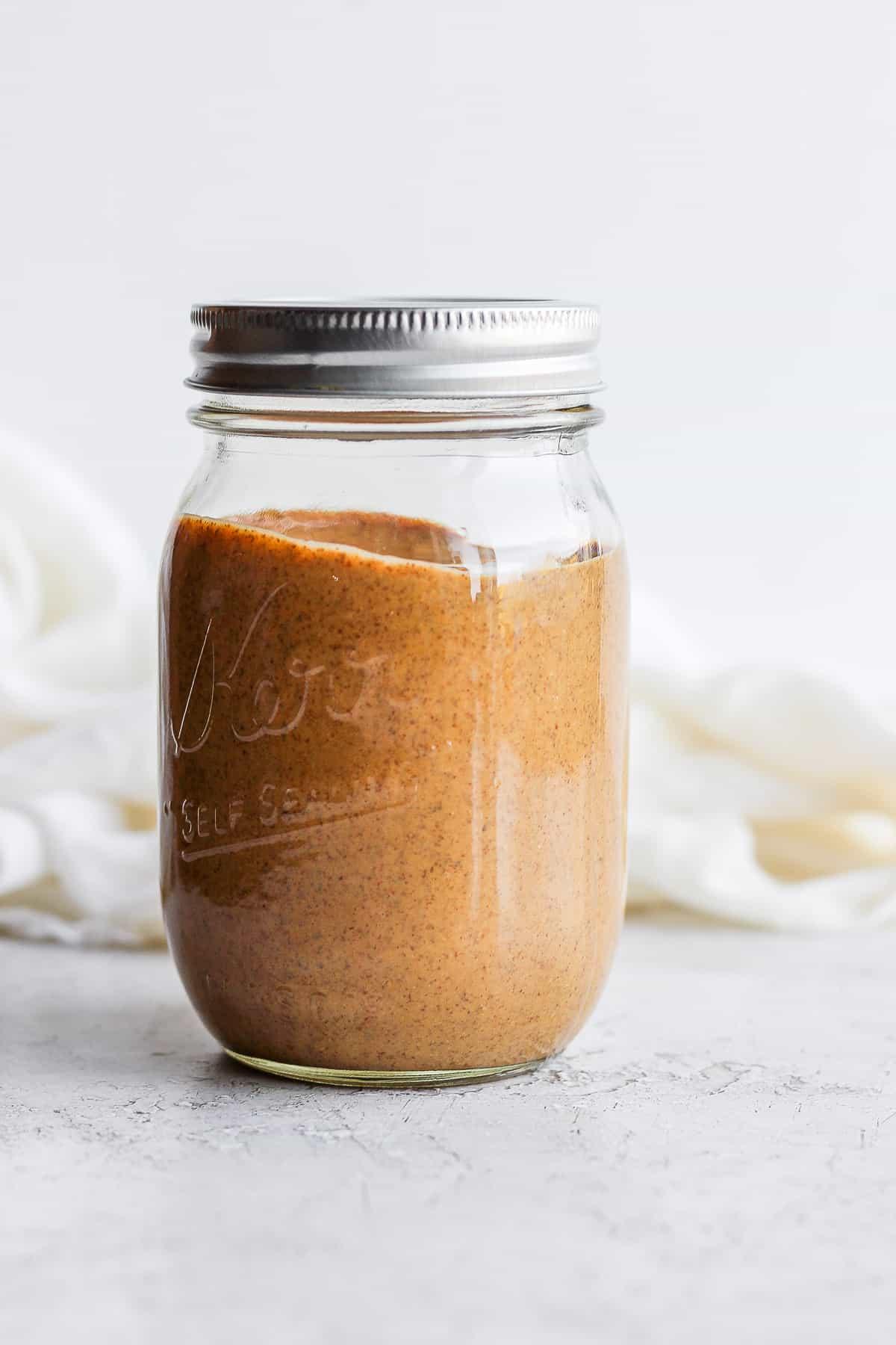 Homemade almond butter in a mason jar