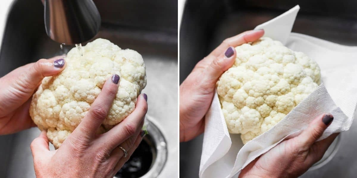2 image collage to show how to wash and dry the cauliflower