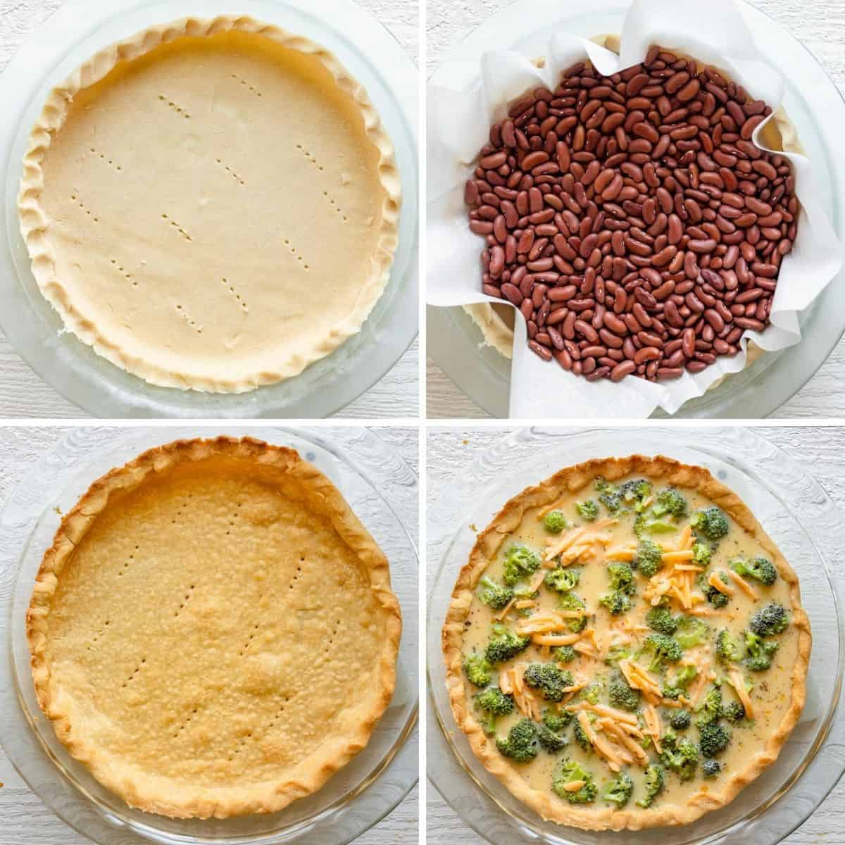 4 image collage to show how to freeze pie crust, blind bake and then pour custard into pie tin