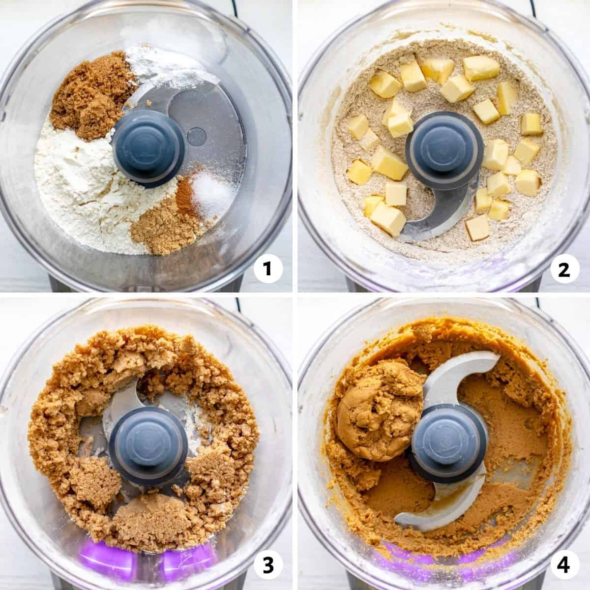4 image collage showing how to make the cookie dough in a food processor