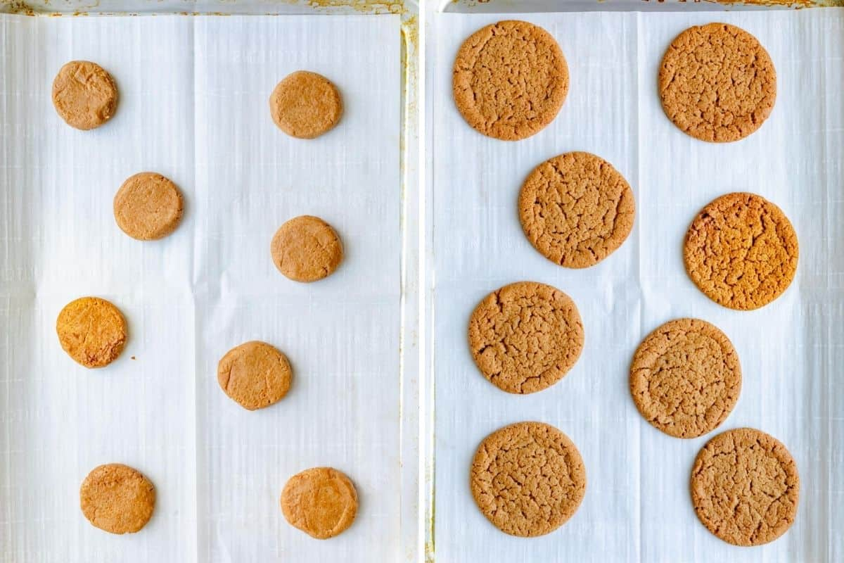 2 image collage showing the cookies before and after baking