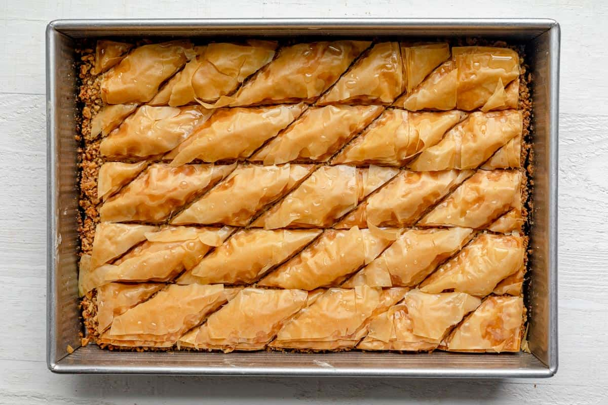 Baked and cooled baklawa on a pan