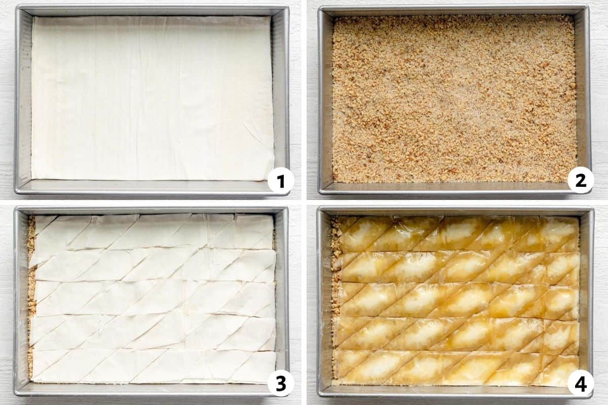 4 image collage to show how to build the baklava layers