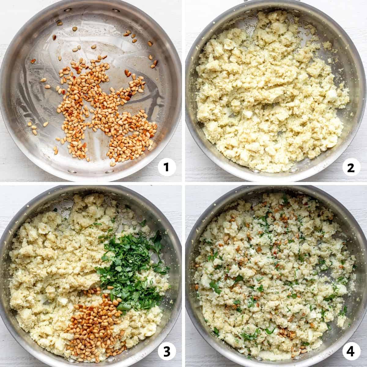4 image collage to show how to make the recipe in a stainless steel pan