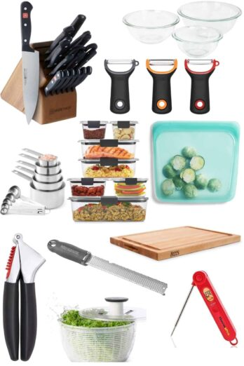 Top kitchen tools collage with featured images of gadgets shown