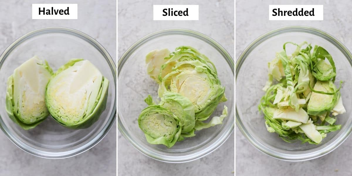3 image collage showing three cuts of brussel sprouts