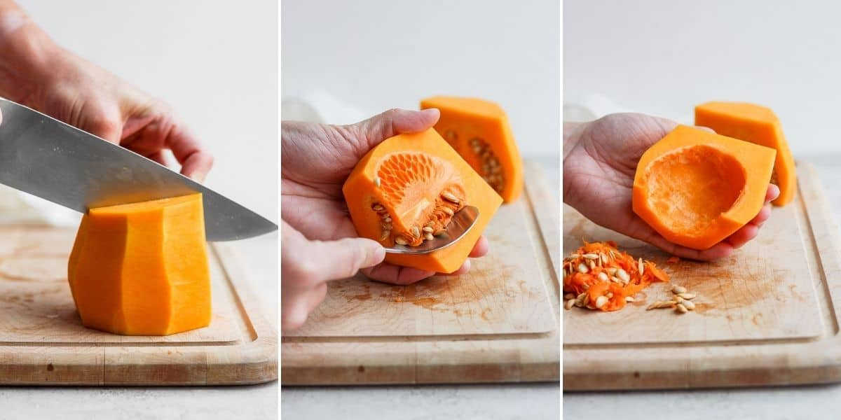 3 image collage showing how to cut the bulbous part and remove the seeds