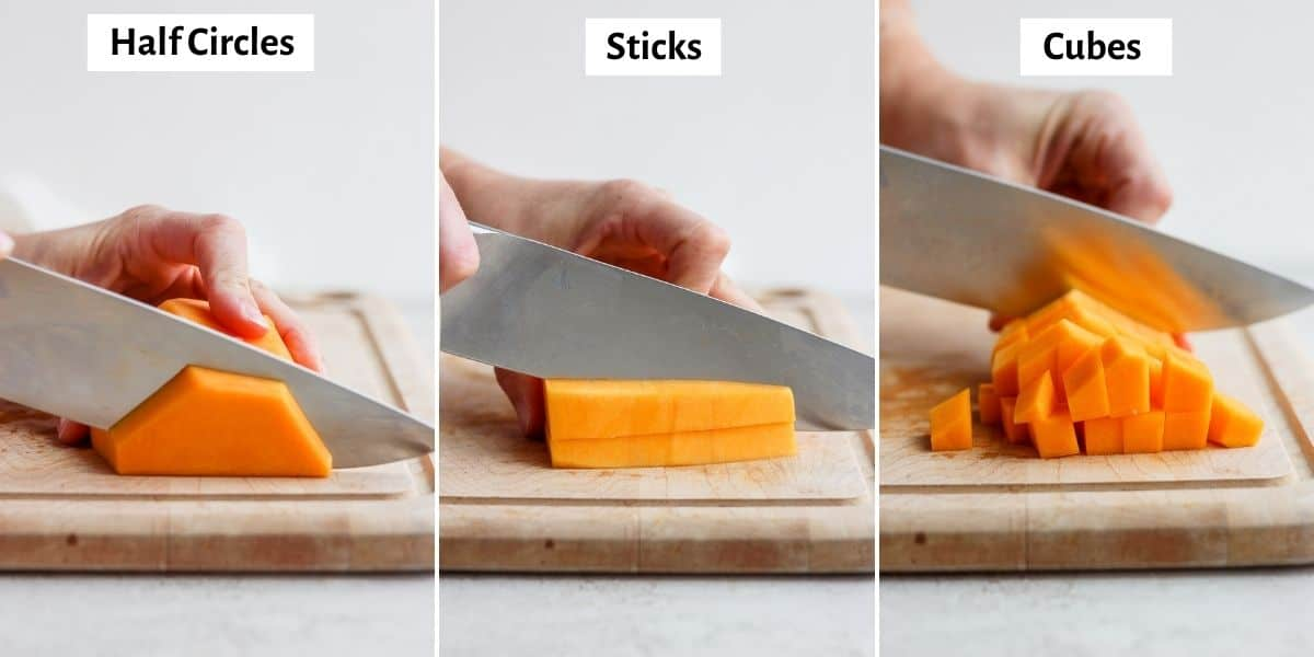 3 image collage showing the three different cuts of squash