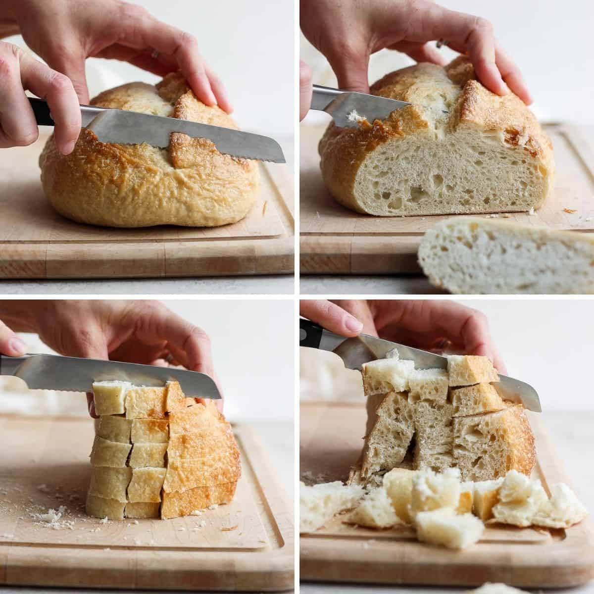 4 image collage to how to cut the bread for the recipe