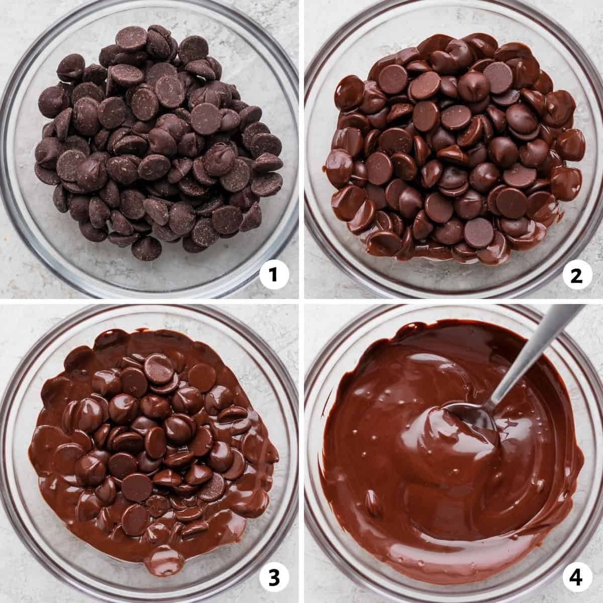 4 image collage to show how to melt chocolate chips in the microwave