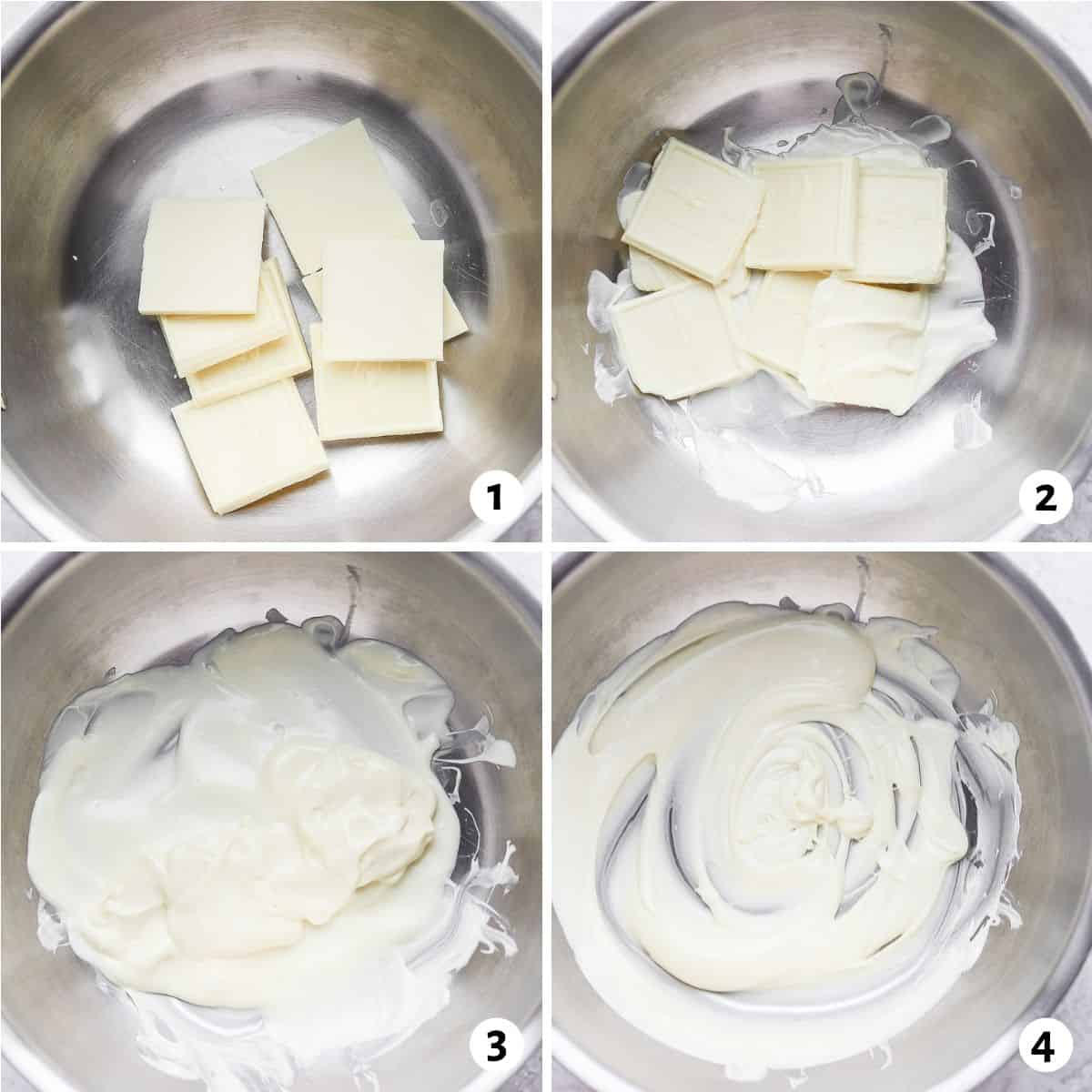 4 image collage of how to melt white chocolate in metal bowl on stovertop