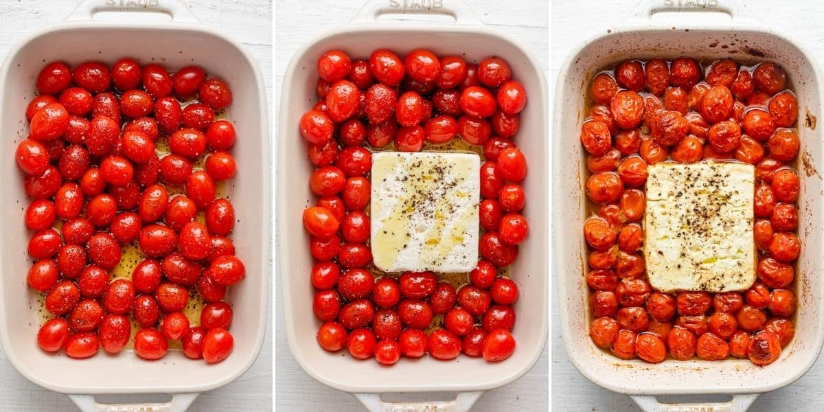 3 image collage to show the tomatoes with the seasoning, then adding feta cheese, then after baking