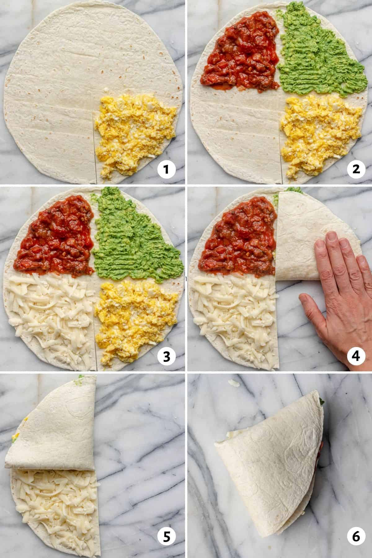 6 image collage to show to how make make and fold tortilla trend