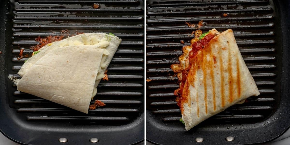 2 image collage to show how to cook the tortilla wrap on a grill pan