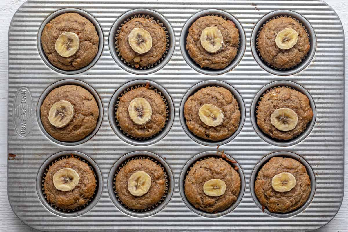 What the peanut butter banana muffins look like after baking in the 12 muffin tin