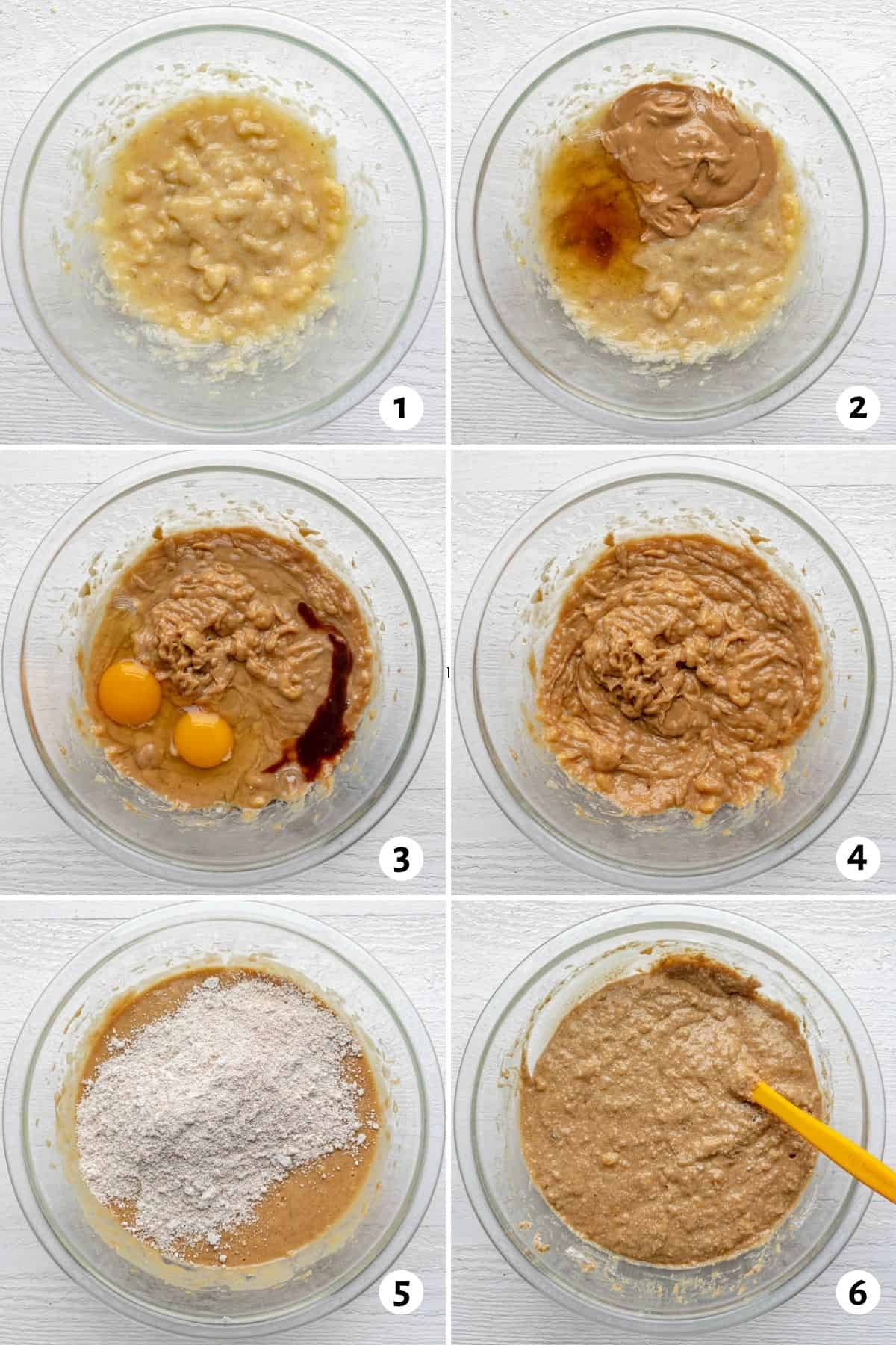 6 image collage for how to make the batter