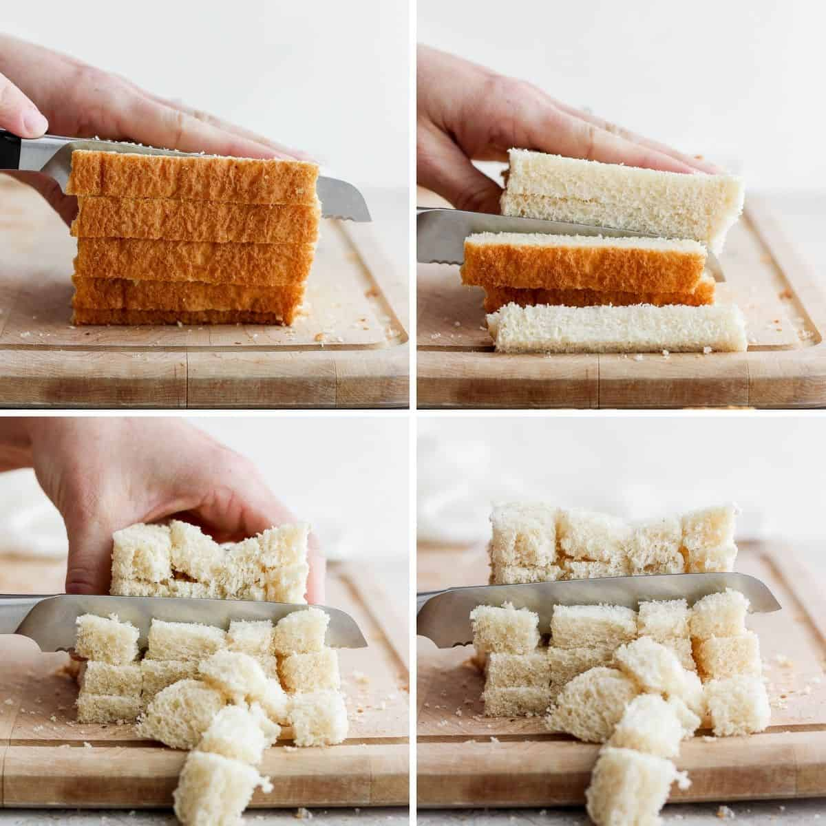 4 image collage to show cutting the sliced bread into cubes