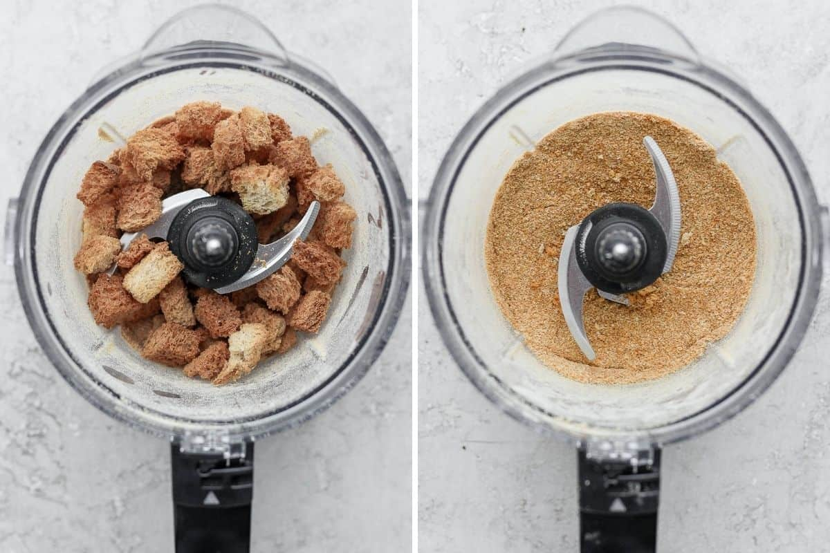 2 image collage to show the bread in a food processor before and after blending