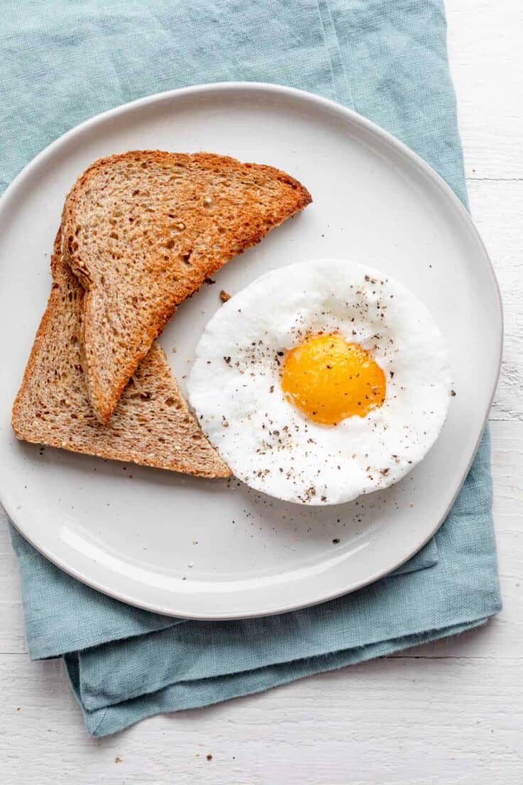 Cloud egg served with a side of toast
