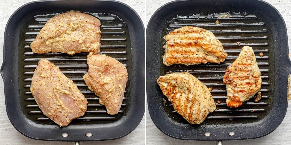 2 image collage showing the chicken on the grill at the beginning and end of cooking