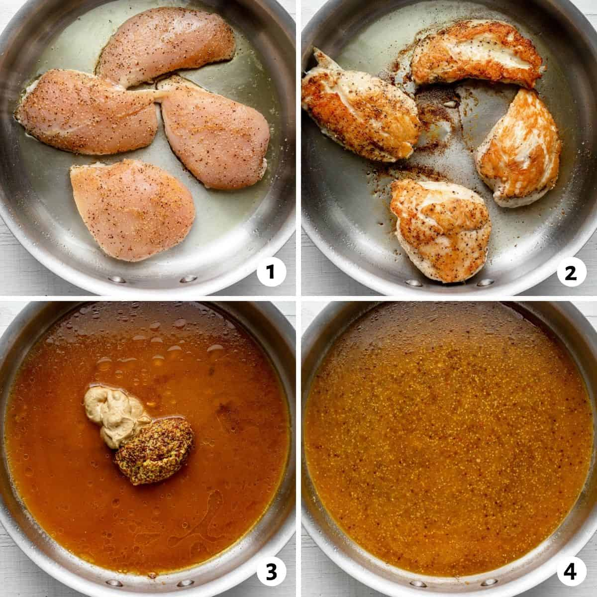 4 image collage to show the process for cooking the chicken and then making the sauce