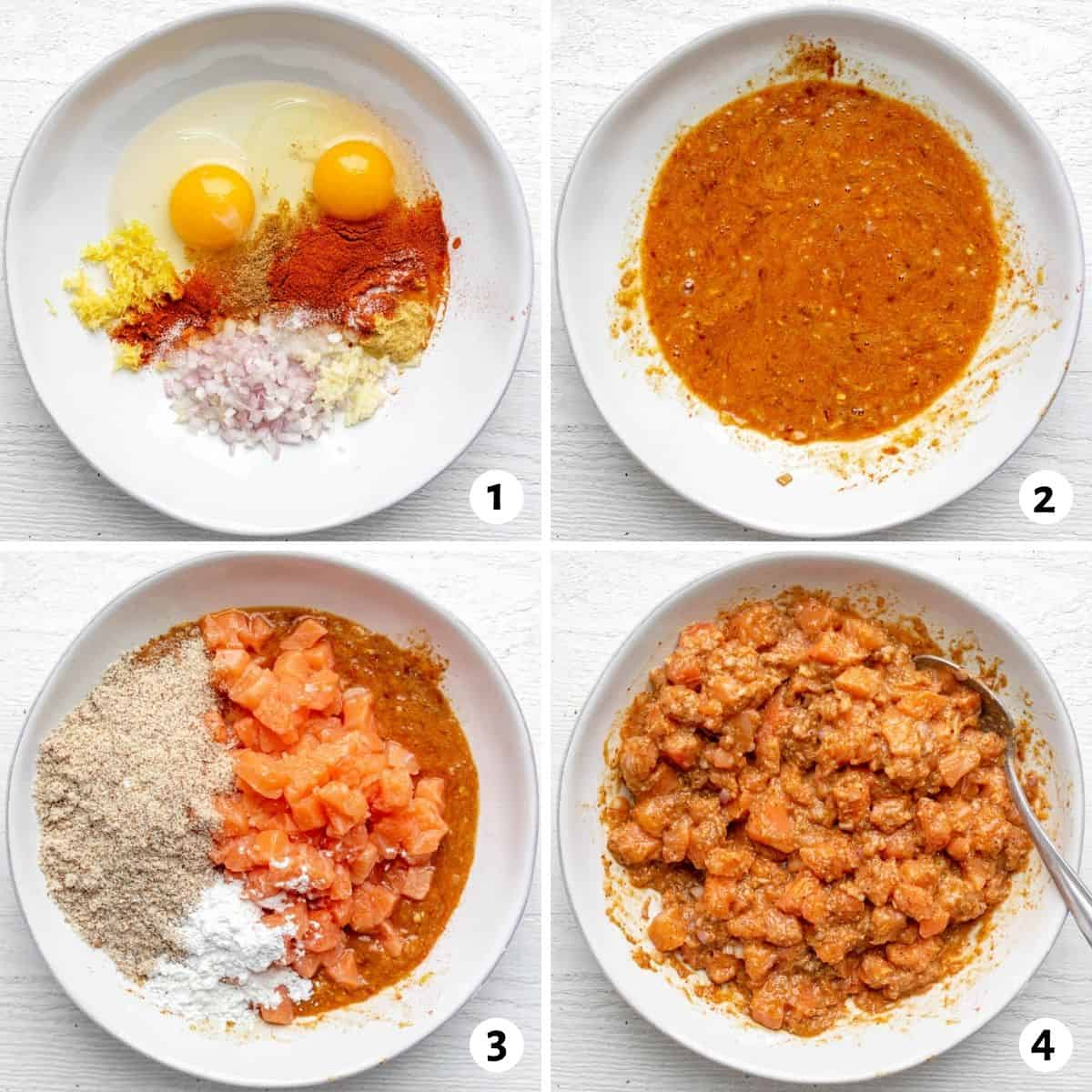 4 image collage to show how to make the recipe in one bowl