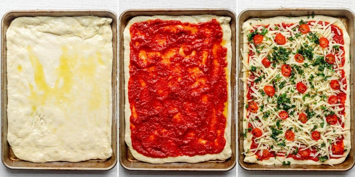 3 image collage for how to make the sheet pan pizza