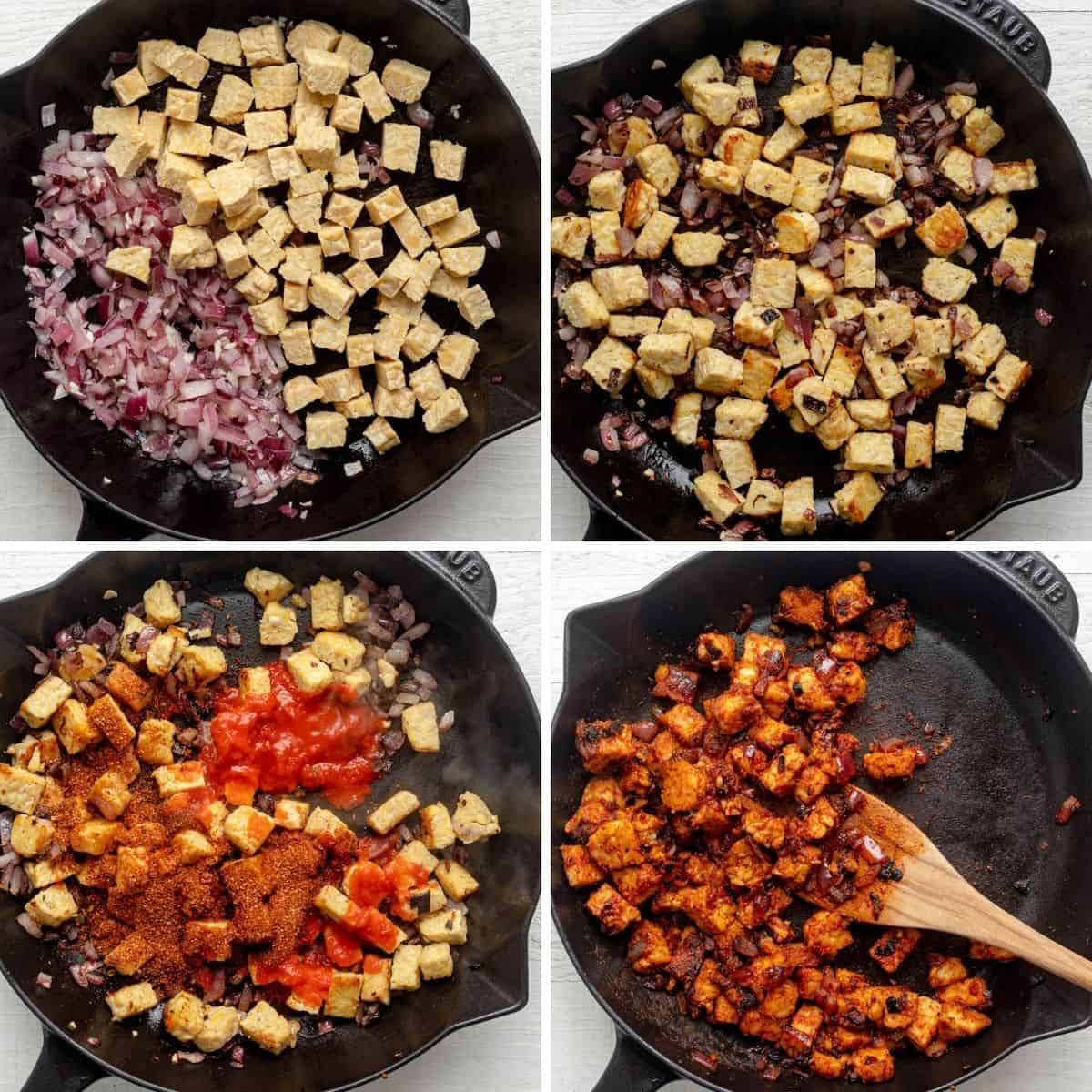 Process shots to show how to cook the tempeh in a skillet with the onions and seasoning