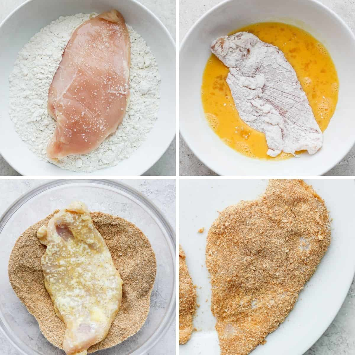 4 image collage to show how to bread the chicken
