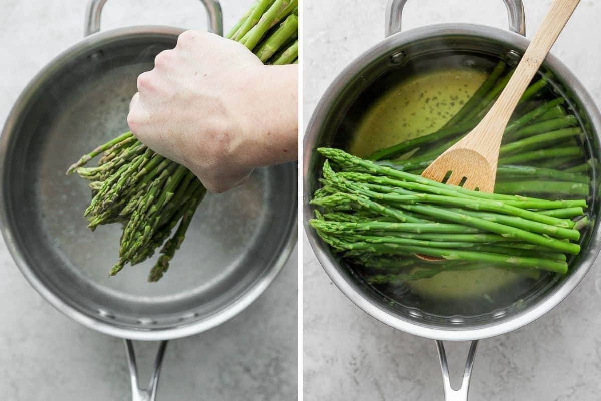 2 image collage to show how to boil asparagus