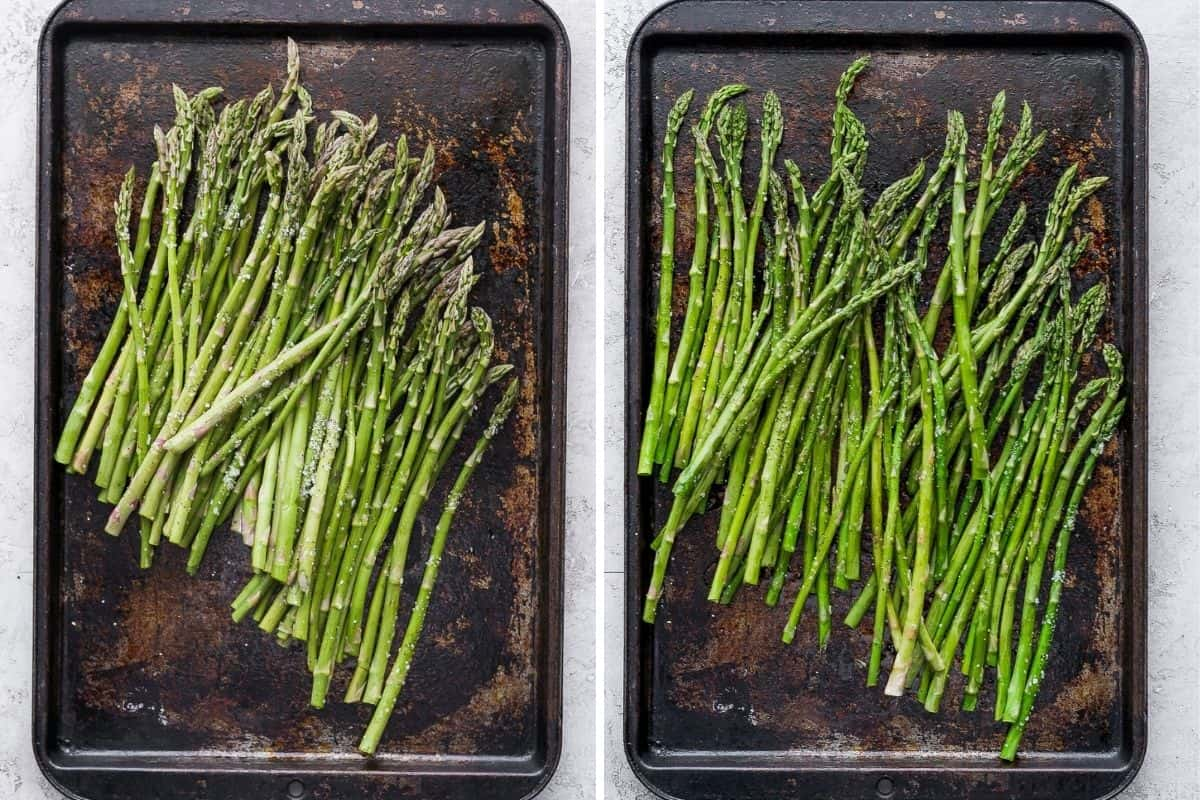 2 image collage to show how to oven roast asparagus