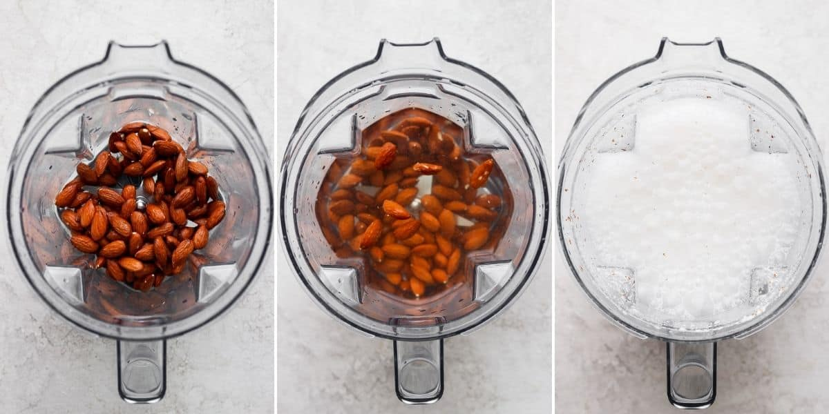 4 image collage to show the steps for making almond milk in a blender