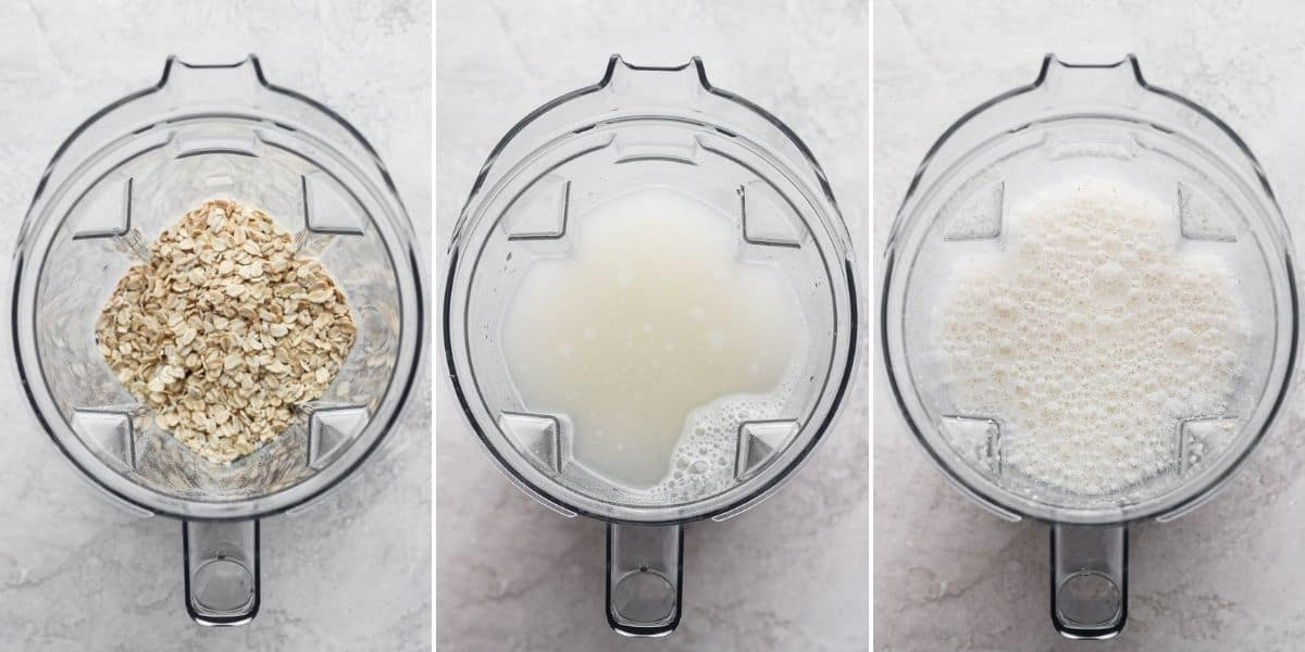 3 image collage to show how to make the oat milk in a blender