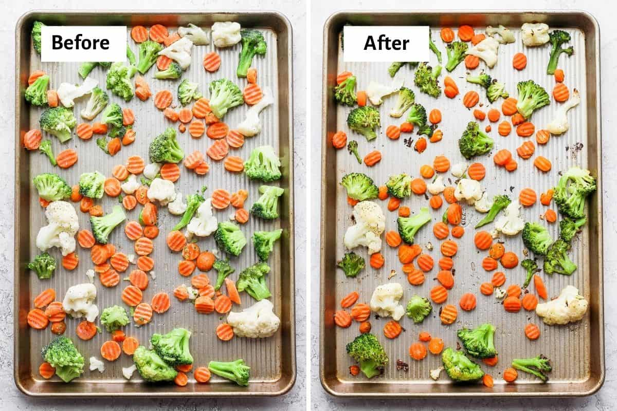 2 image collage showing the frozen vegetables before and after roasting on a sheet pan tray