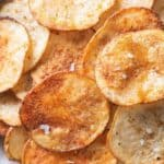 Close up shot of the oven baking potato chips to show the texture
