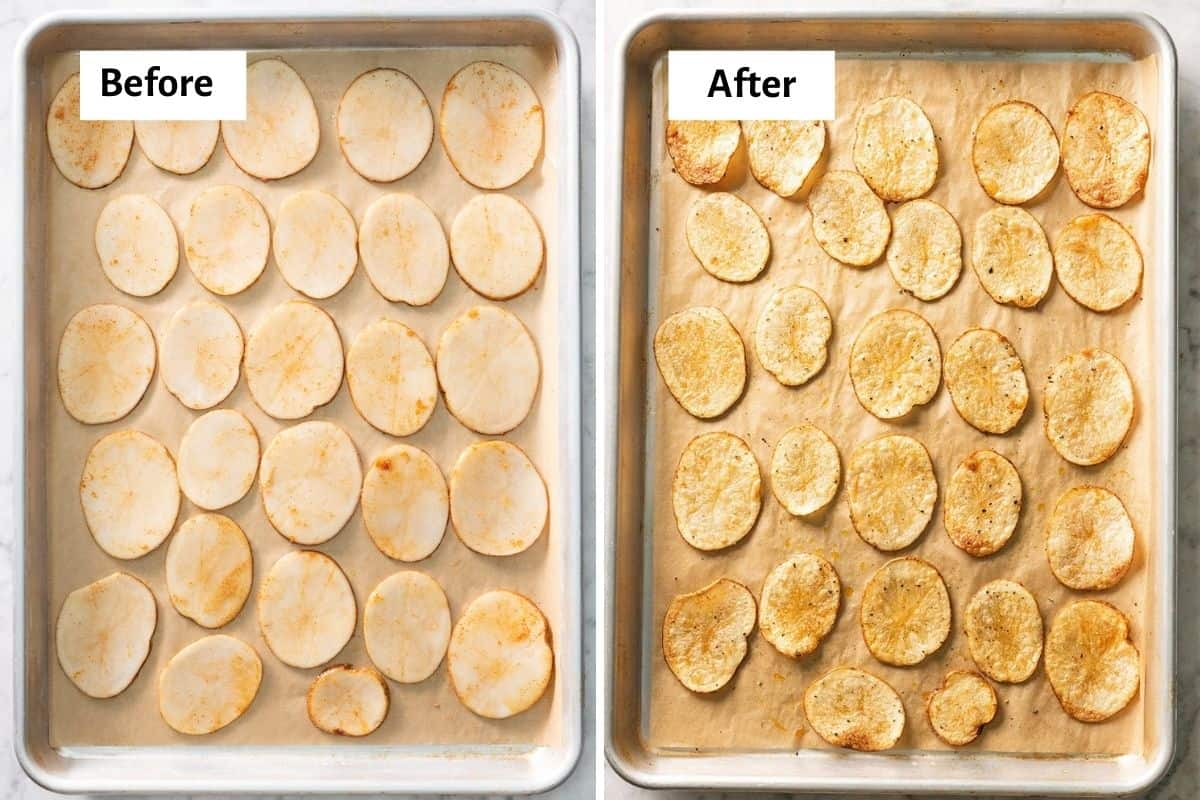 2 image collage to show the potatoes before and after baking