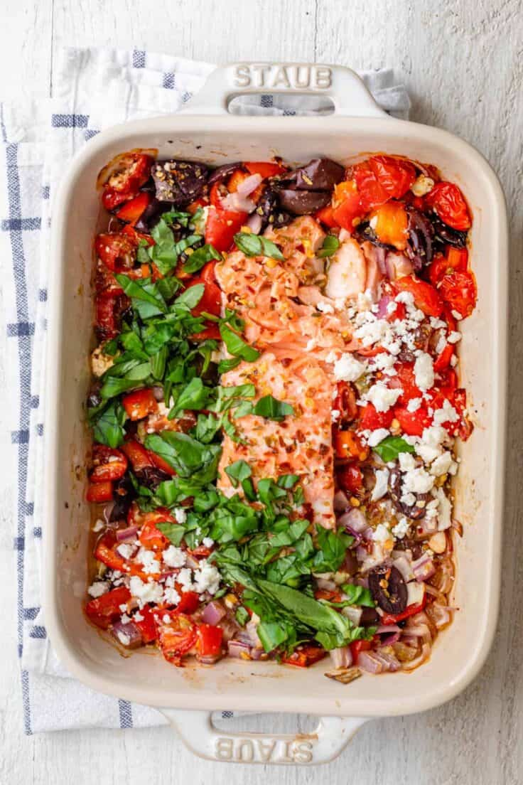 Baked Feta salmon after it's cooked in the oven