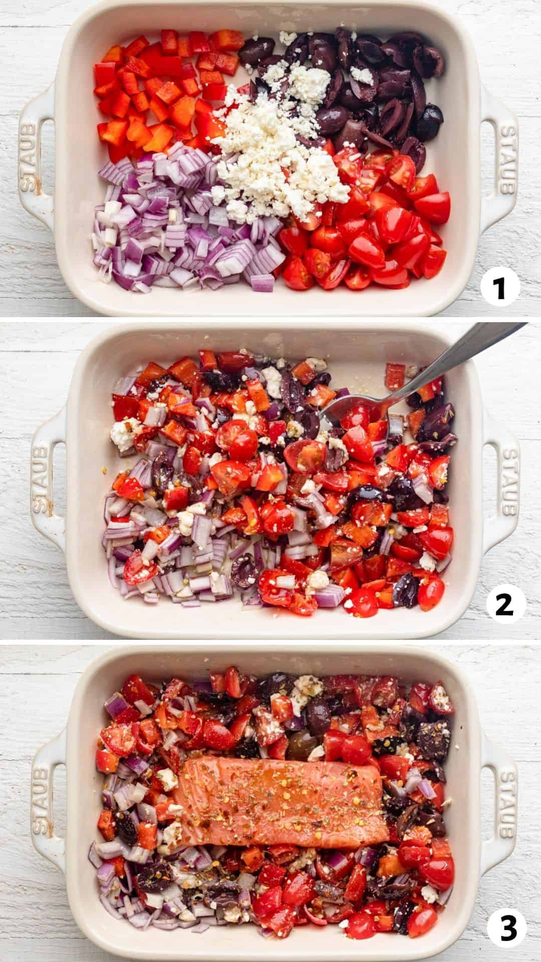 3 image collage to show how to make the recipe